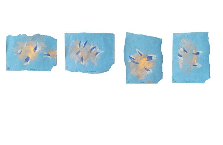 a voadora | lápis de cor e spray sobre papel | 4x (34 x 49 cm) | 2020