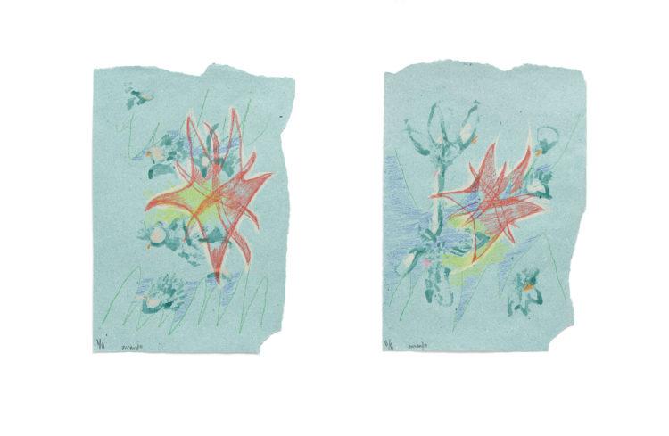 arranjo | lápis de cor e esmalte de unha sobre papel | 2x (30 x 47 cm) | 2020