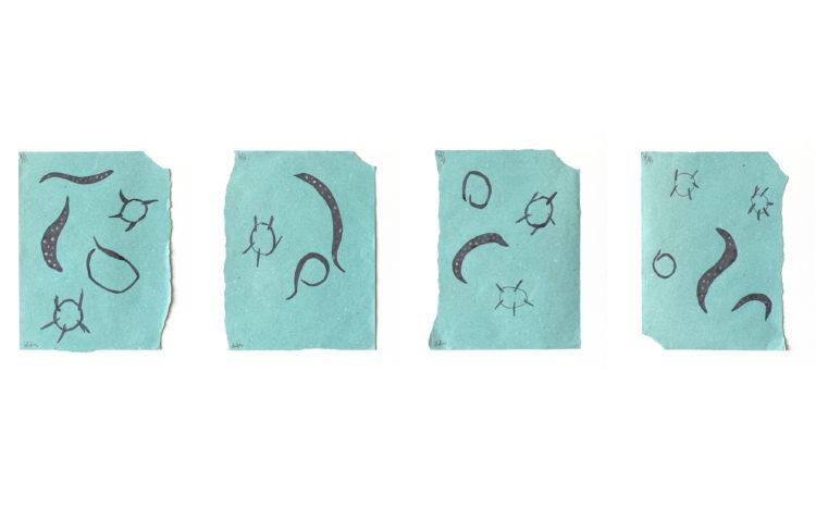 chifre | 4x(26 x 21 cm) | lápis de cor e esmalte de unha sobre papel | 2020