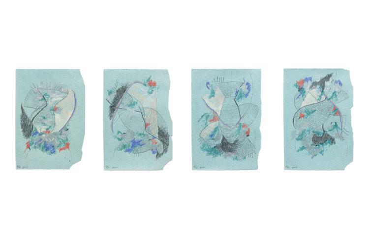 peixe | lápis de cor, grafite e esmalte de unha sobre papel | 4x (33 x 50 cm) | 2020