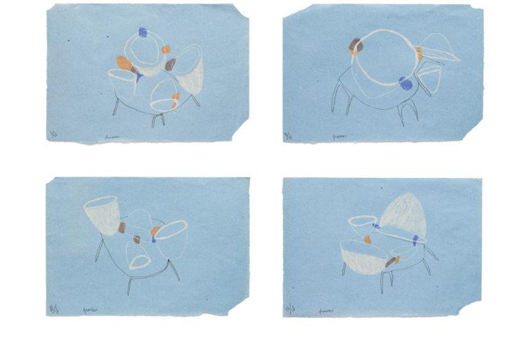 frascos | 34 x 49cm | lápis de cor e grafite sobre papel | 4x (34 x 49 cm) | 2020