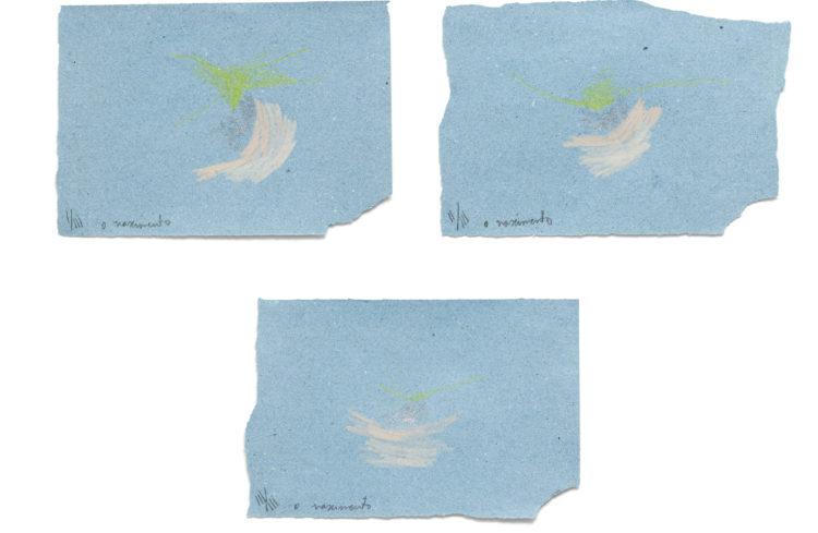 o nascimento | lápis de cor e esmalte de unha sobre papel | 3x (18 x 26 cm) | 2020